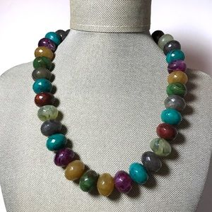 Vintage Multi Fall Color Faceted Beaded Necklace
